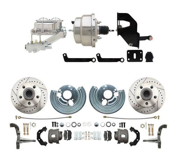 1962-1972 Mopar B & E Body Front Disc Brake Conversion Kit w/ Drilled & Slotted Rotors ( Charger, Challenger, Coronet) w/ 8