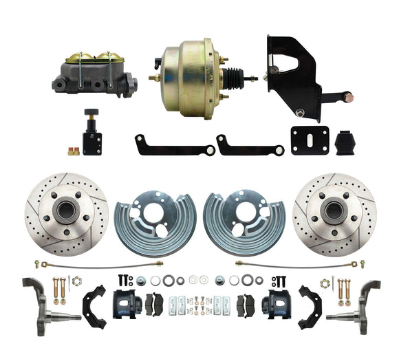 1962-72 Mopar B&E Body Front Disc Brake Conversion Kit w/ Drilled & Slotted Rotors & Powder Coated Black Calipers ( Charger, Challenger, Coronet) w/ 8