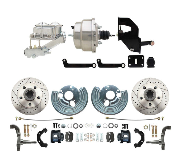 1962-1972 Mopar B & E Body Front Disc Brake Conversion Kit w/ Drilled & Slotted Rotors & Powder Coated Black Calipers ( Charger, Challenger, Coronet) w/ 8