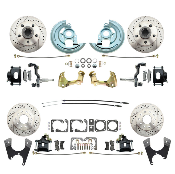 1964-1972 GM A Body (Chevelle, GTO, Cutlass) Stock Height Front & Rear Disc Brake Kit w/ Drilled & Slotted Rotors Black Calipers