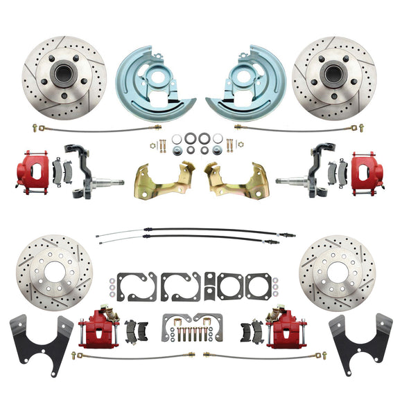 1964-1972 GM A Body (Chevelle, GTO, Cutlass) Stock Height Front & Rear Disc Brake Kit w/ Drilled & Slotted Rotors Red Calipers