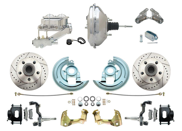 1964-1972 GM A Body Front Power Disc Brake Conversion Kit Drilled/ Slotted Rotors Powder Coated Black Calipers w/ 11