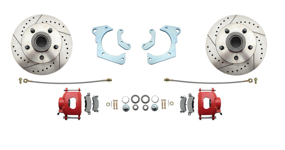 1965-1968 Full Size Chevy Complete Disc Brake Conversion Kit w/ Powder Coated Red Calipers & Drilled/ Slotted Rotors