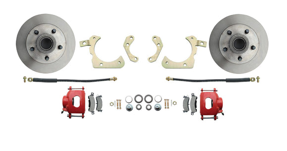 1965-1968 Full Size Chevy Complete Disc Brake Conversion Kit w/ Powder Coated Red Calipers