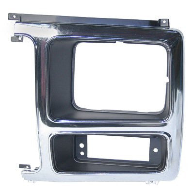 FO2512148PP 1980-1986 FORD BRONCO and 1980-1986 FORD PICKUP DRIVER SIDE HEAD LIGHT DOOR- CHROME/BLACK [FOR SILVER GRILLE]