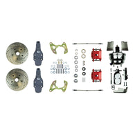 "2"" Drop Power Front Kit with 8"" Dual Chrome Booster, Master, 2 Red Calipers & more"