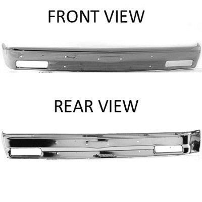 GM1002365V FRONT BUMPER FACE BAR- CHROME- WITHOUT STRIP HOLES