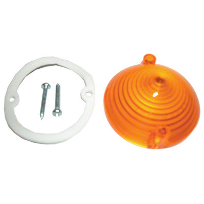 GMK302007064 1965-1966 FORD MUSTANG AMBER PARK LIGHT LENS WITHOUT LOGOS- INCLUDES GASKET AND SCREWS