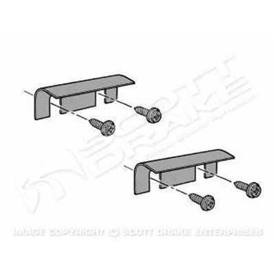 GMK3020280642S 1964-1966 FORD MUSTANG DRIVER AND PASSENGER SIDE PAIR OF HOOD TO COWL SEAL END BRACKETS- 2 BRACKETS AND 4 SCREWS