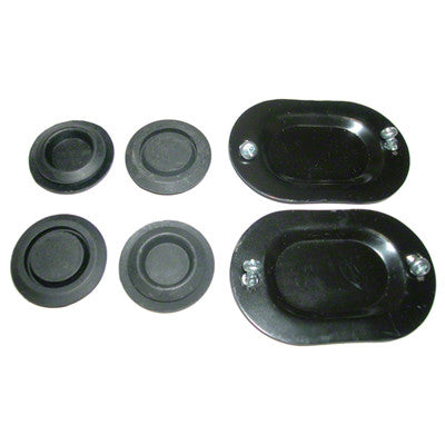 GMK302051264S 10-PIECE FLOOR DRAIN PLUG SET- CONSISTS OF 2-OVAL PLATES- 4-RUBBER PLUGS- AND 4 SCREWS. 2 SETS REQUIRED PER CAR.