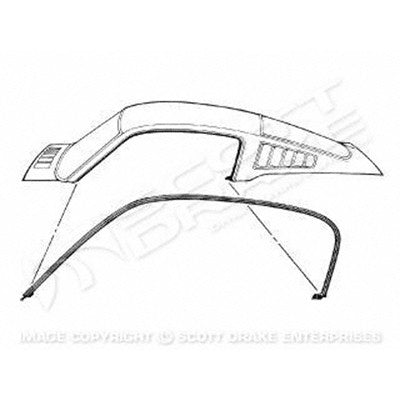 GMK302053765P 1965-1966 FORD MUSTANG DRIVER AND PASSENGER SIDE PAIR OF ROOF RAIL WEATHERSTRIPS FOR FASTBACK MODELS