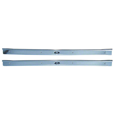 GMK403057564P DRIVER AND PASSENGER SIDE PAIR OF DOOR SILL PLATES WITH CORRECT RIBS AND WITH EMBLEMS
