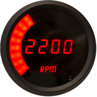 LED Digital/Bargraph Memory Tachometer 3 3/8''  with peak rpm recall, 9900 rpm, 4-6-8 cyl black bezel