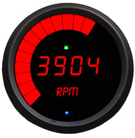 "LED Digital/MULTI Programmable Tachometer 3 3/8"", 9999 rpm, 1-2-4-6-8-10-12 cyl, black bezel"