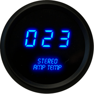 "LED Digital Stereo Amplifier Temperature Gauge 2 1/16"" 0 to 250 Degrees  F° black bezel (includes sender)"