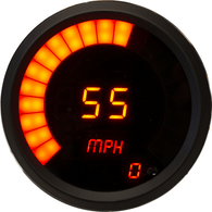 "LED Digital/Bargraph Memory Speedometer 3 3/8"" Programmable, with high speed recall, black bezel"