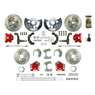 Manual 4 Wheel Conversion w/ Master Cylinder, 4 Red Calipers, 4 Perf Rotors & more