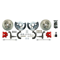 Manual Front Conversion w/  Chrome Master Cylinder & Valve, 2 Red Clprs, 2 Rotors