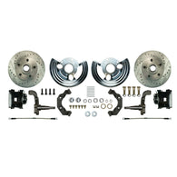 Front Wheel Kit, 2 Black Coated Calipers, Drilled & Slotted Rotors, Spindles & more