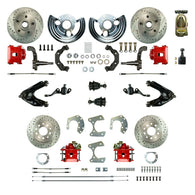 Manual Front Conversion w/ Master Cylinder & Valve, 2 Red Calipers, 2 Rotors & more