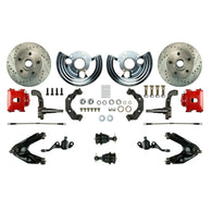 Front Wheel Kit, 2 Red Coated Calipers, Drilled & Slotted Rotors, Spindles & more