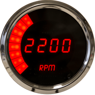 LED Digital/Bargraph Memory Tachometer 3 3/8'' with peak rpm recall, 9900 rpm, 4-6-8 cyl  chrome plated bezels