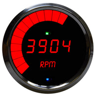 "LED Digital/MULTI-Programmable-Tachometer 3 3/8"", 9999 rpm, 1-2-4-6-8-10-12 cyl, chrome bezel"
