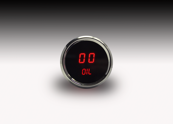 "LED Digital Oil Pressure Gauge 2  1/16""0 to 99 psi w/chrome plated bezels (Includes sender)"