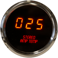 "LED Digital Stereo Amplifier Temperature Gauge 2 1/16"" 0 to 250 Degrees  F° w/ chrome bezel (includes sender)"