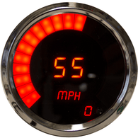 "LED Digital/Bargraph Memory Speedometer 3 3/8"" Programmable, with high speed recall, w/ chrome bezels"