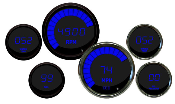 LED Multi-Gauge Set (speedo & tach 3 3/8) (volt, fuel, oil press w/sender, water temp w/sender 2 1/16th) Black Bezel