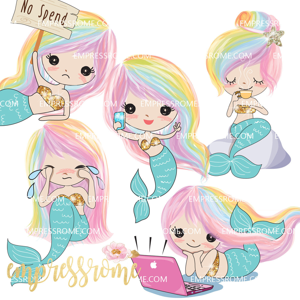 DIE CUTS: MERMAID LOVE SET A