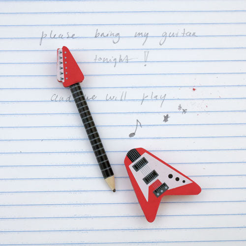Guitar Pencil and Eraser