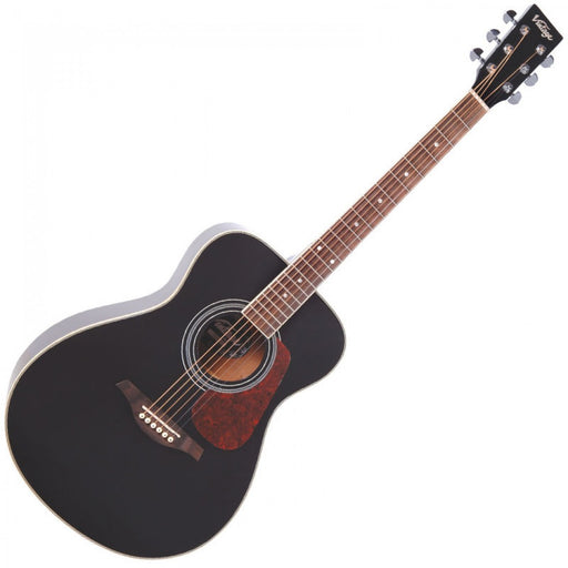 Vintage Acoustic Folk Guitar, V300, Black