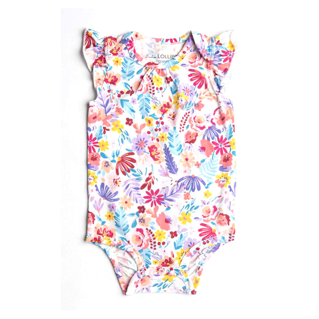 Short Sleeve Ruffle Bodysuit - Light Field Flowers