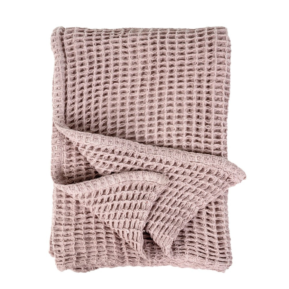 Waffle Woven Throw - Pink