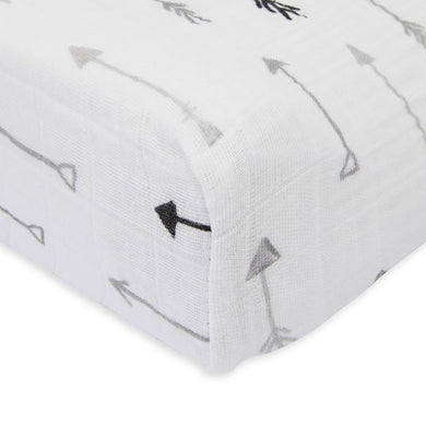 Cotton Muslin Change Pad Cover - Arrow