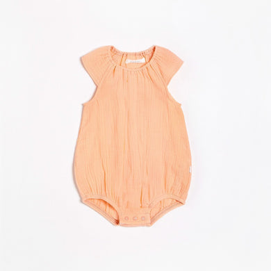 Organic Cotton Bubble Romper - Coral