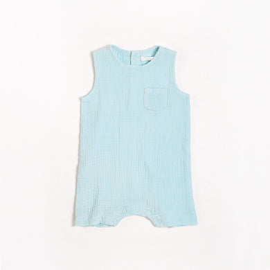 Organic Cotton Sleeveless Romper - Light Blue