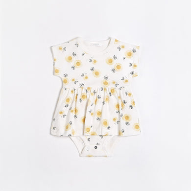 Organic Cotton Peplum Dress - Sunflowers