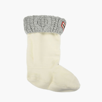 Kids Cable Cuff Boot Sock - Light Grey