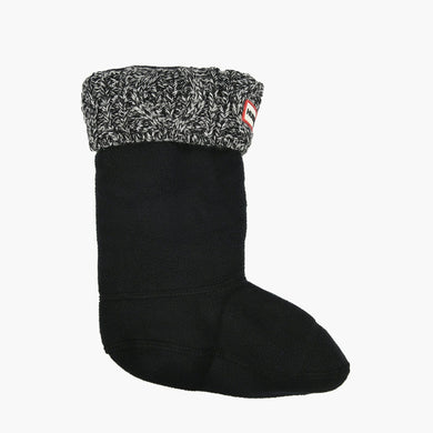 Kids Cable Cuff Boot Sock - Black/Grey