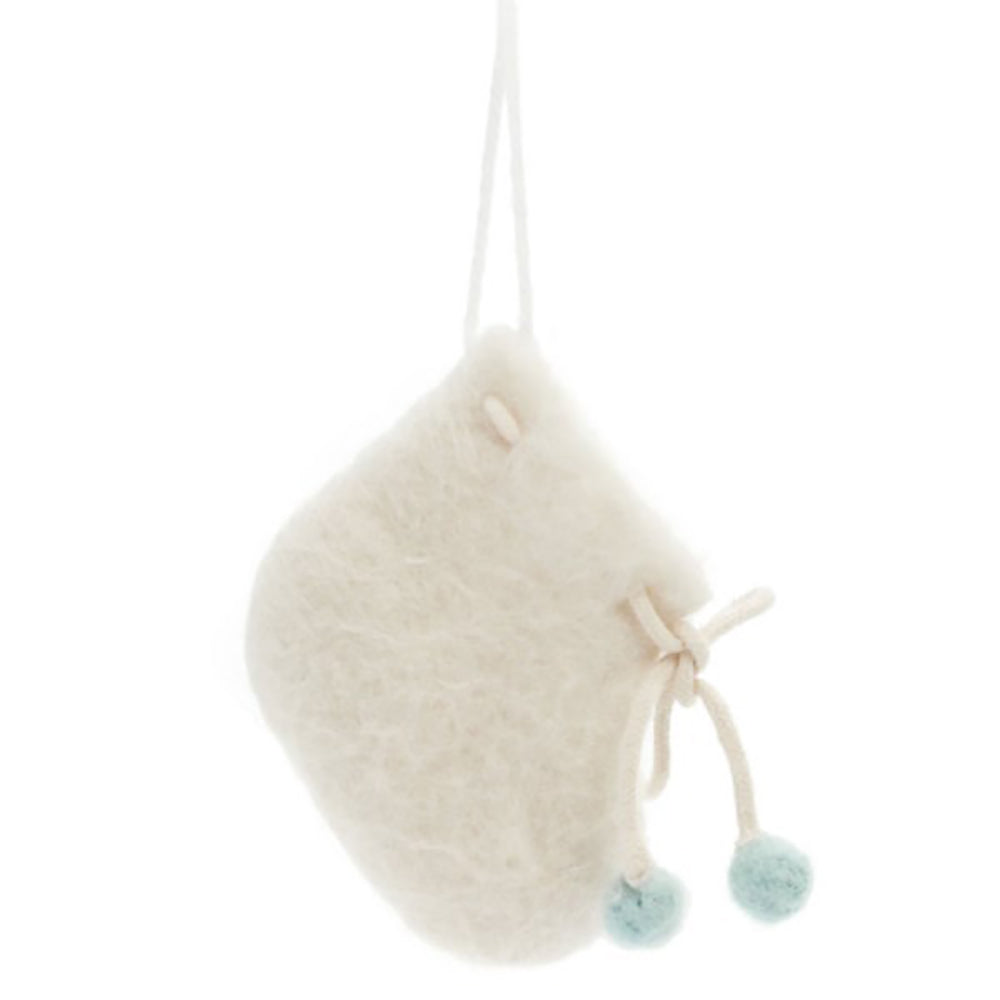 Wool Ornament - Newborn Bootie (Blue)