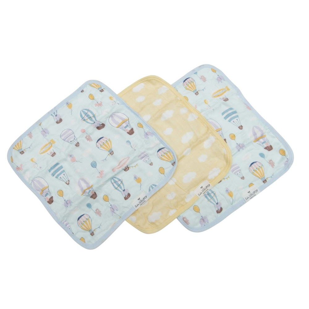 Muslin Washcloth Set (set of 3) - Up Up Away