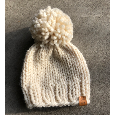 Chunky Knit Toque with Oversized Pom - Cream