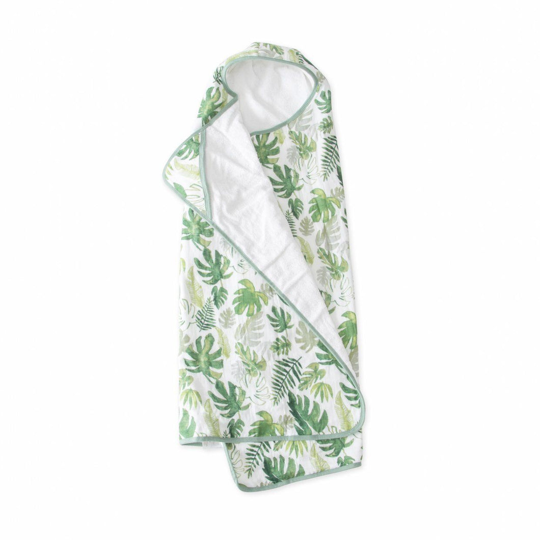 Big Kid Cotton Hooded Towel - Tropical Leaf