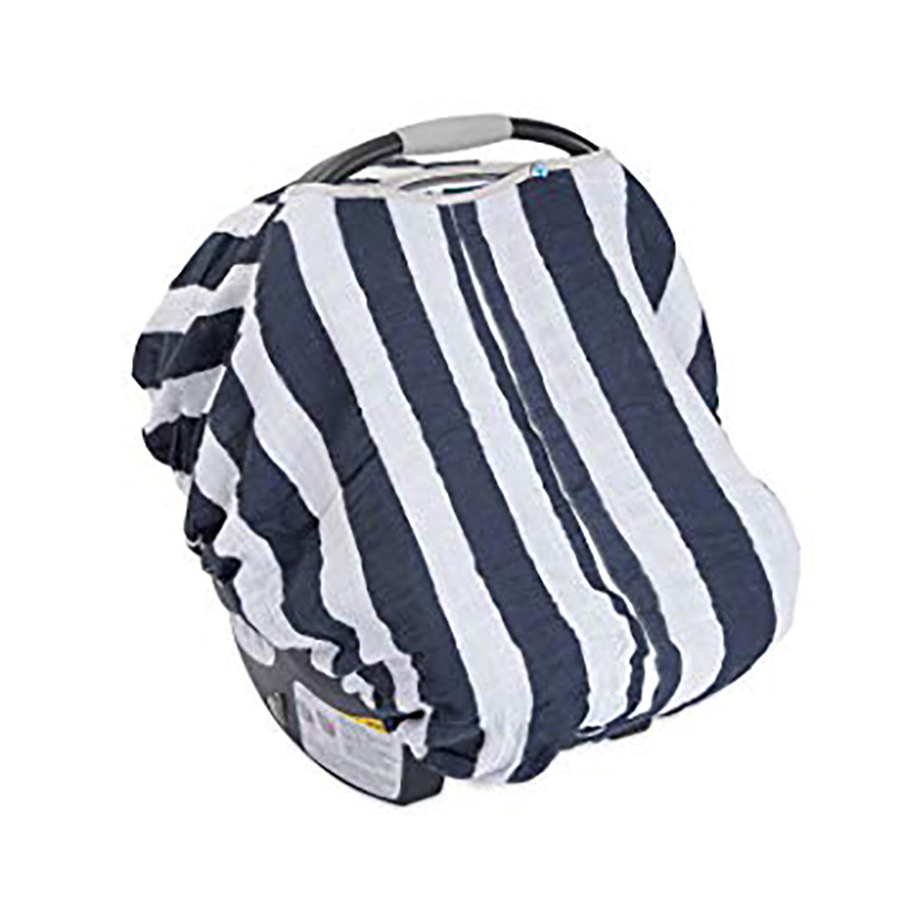 Cotton Muslin Carseat Cover - Navy Stripe