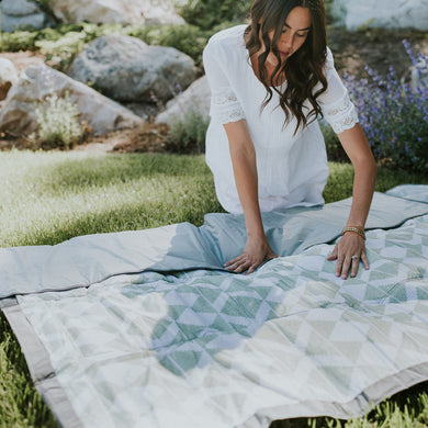 Outdoor Blanket + Play Mat - Green Weave