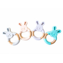 Bunny Silicone and Wood Teether Ring - Lilac