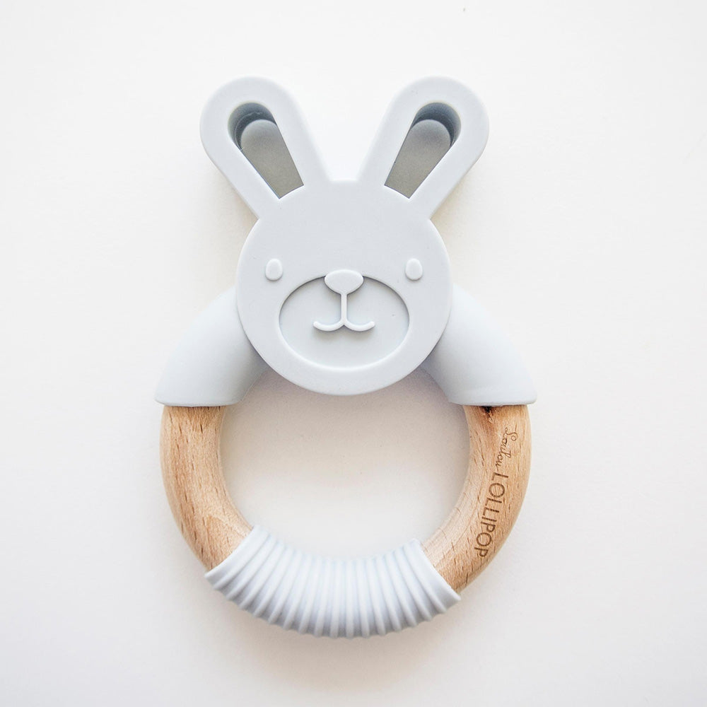 Bunny Silicone and Wood Teether Ring - Grey